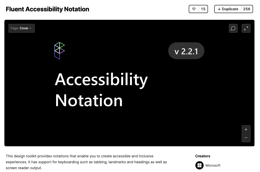 Screenshot of Fluent Accessibility Notation title page in Figma Community Page